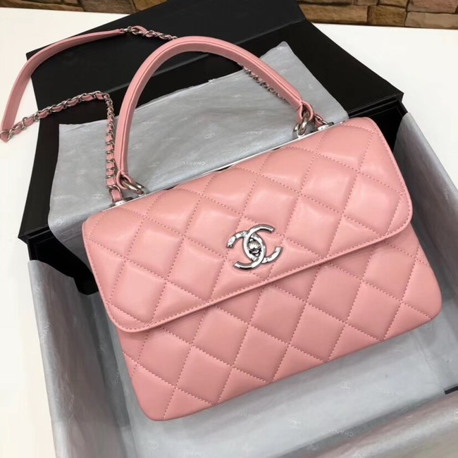 Chanel CC original lambskin top handle flap bag 92236 pink&silver-Tone Metal