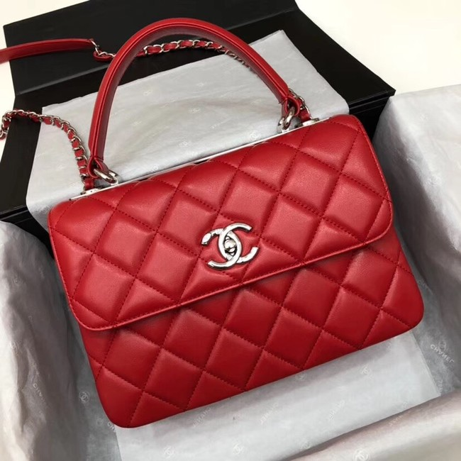 Chanel CC original lambskin top handle flap bag 92236 red&silver-Tone Metal