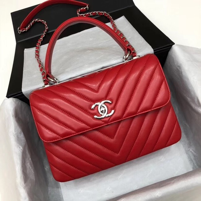Chanel CC original lambskin top handle flap bag V92236 red&silver-Tone Metal