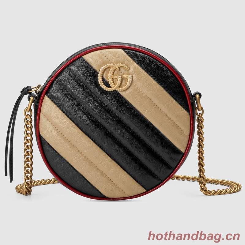 Gucci GG Marmont mini round shoulder bag 550154 Beige and black