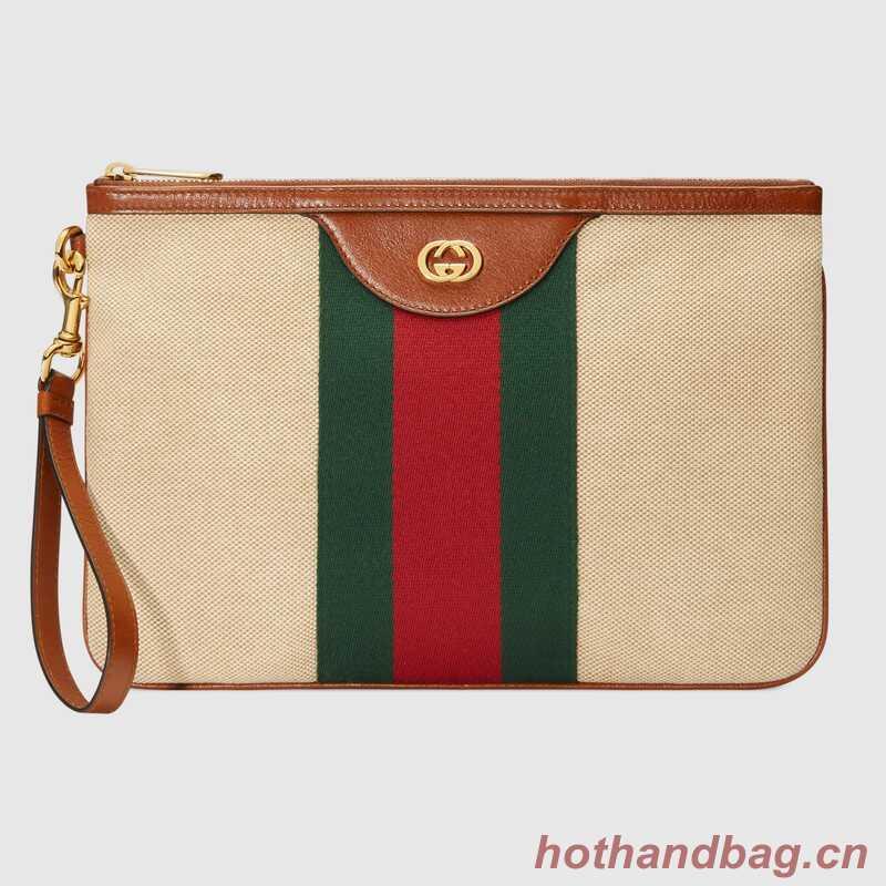 Gucci Vintage canvas pouch 576053 Beige