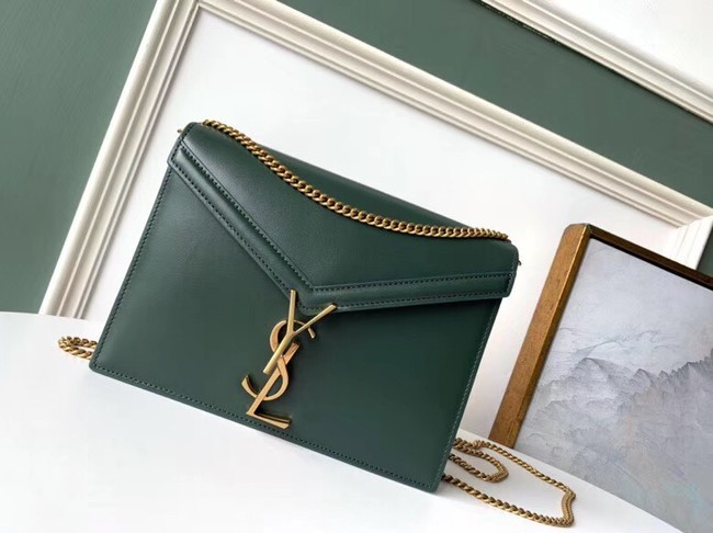 SAINT LAURENT Cassandra leather shoulder bag 532750 Dark Green