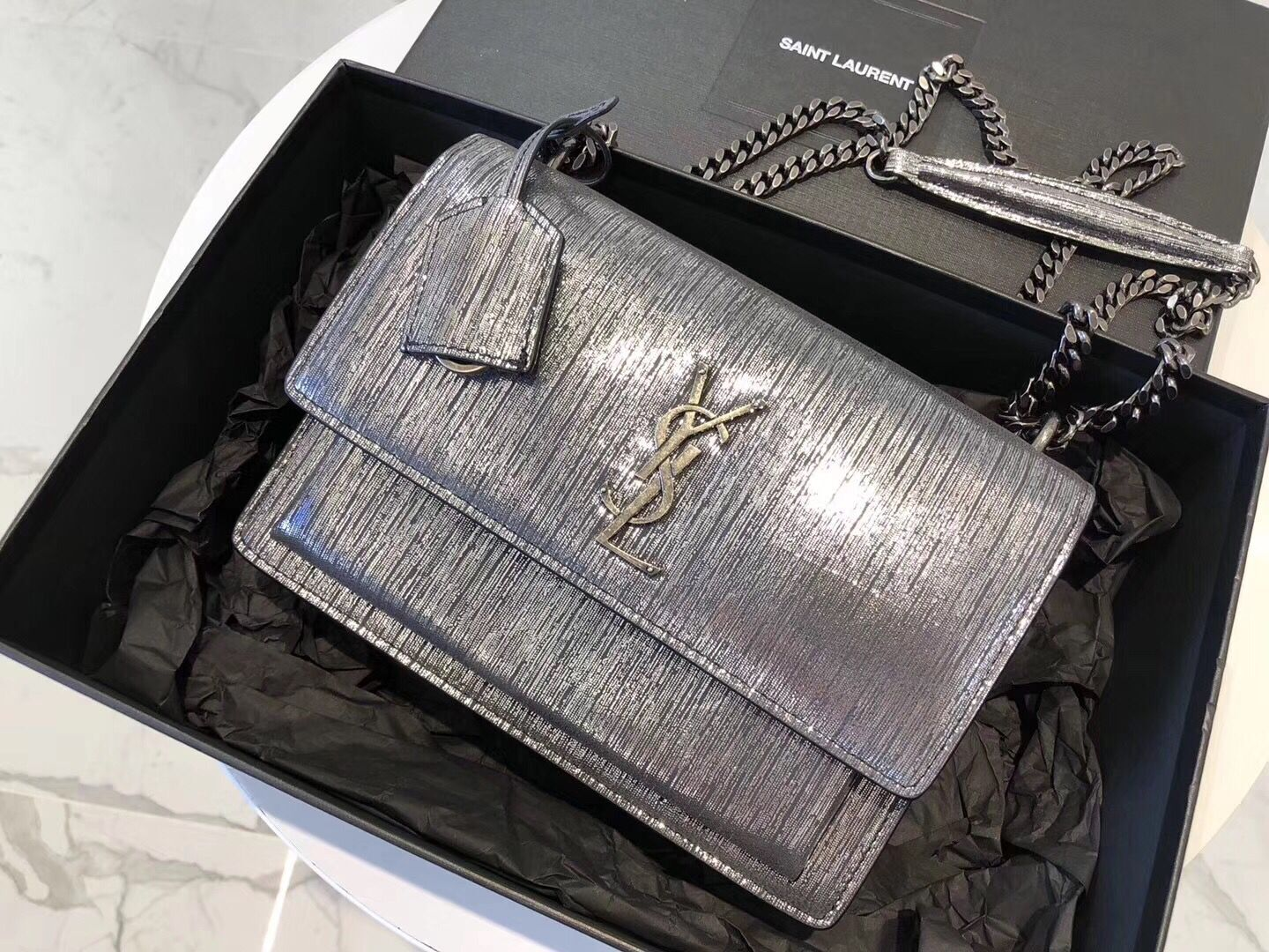 SAINT LAURENT Monogram Sunset medium Silver Wire cross-body Bag 442906 Silver