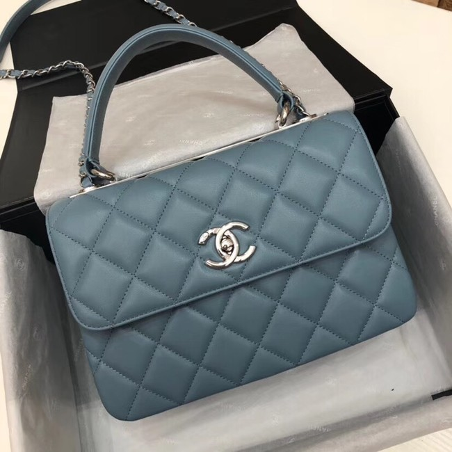 Chanel CC original lambskin top handle flap bag 92236 blue&silver-Tone Metal