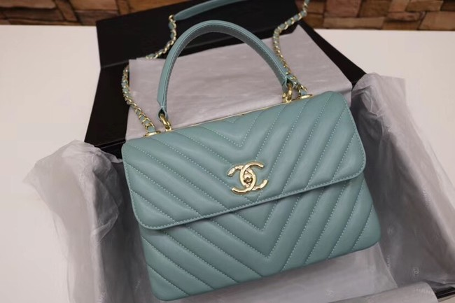 Chanel CC original lambskin top handle flap bag V92236 green&Gold-Tone Metal