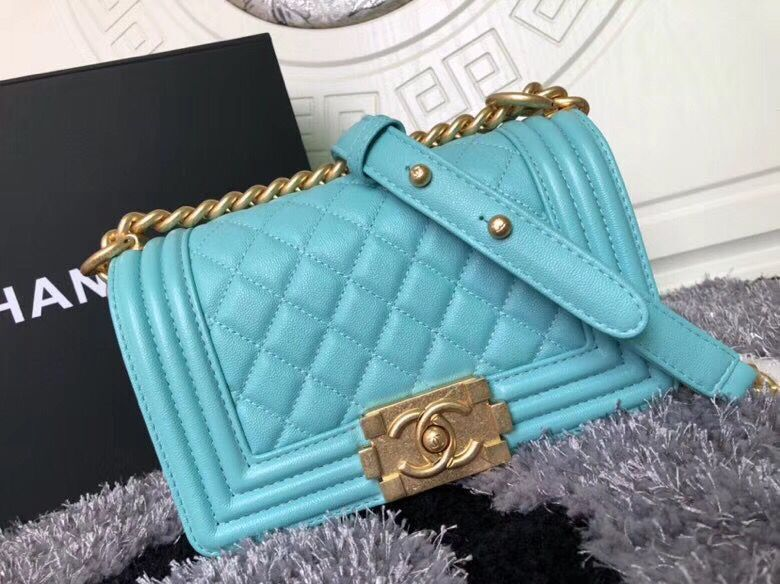 Boy Chanel Flap Shoulder Bag Sheepskin Leather A67085 Blue