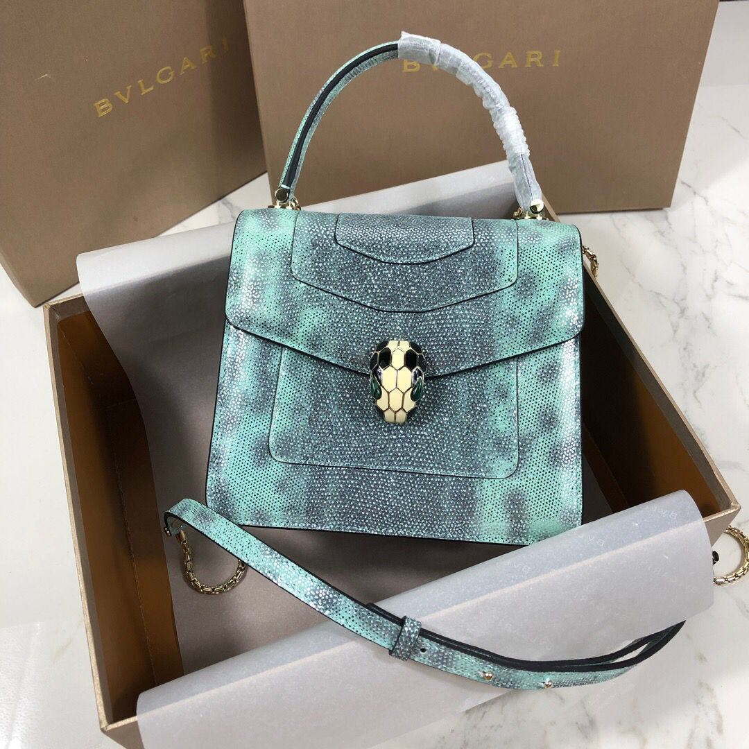 BVLGARI Serpenti Forever Metallic-leather Shoulder Bag 058962 Green&Black