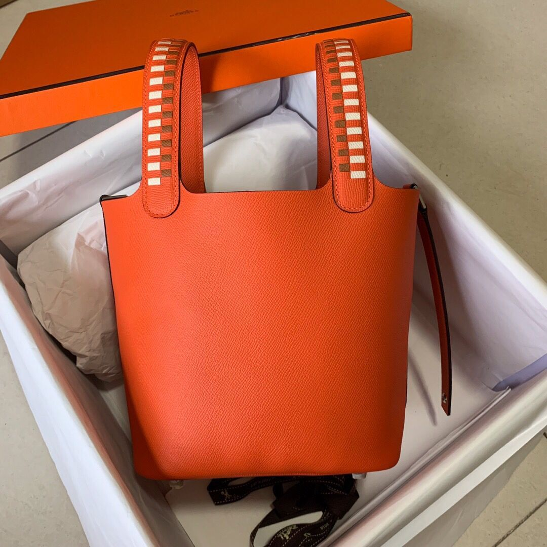 Hermes Picotin Lock PM Taurillon Epsom Leather Orange 9809 Silver