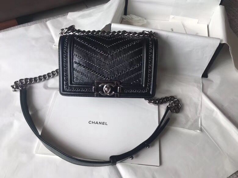 CHANEL BOY Crumpled Calfskin Original Leather Black Bag A67085 Silver