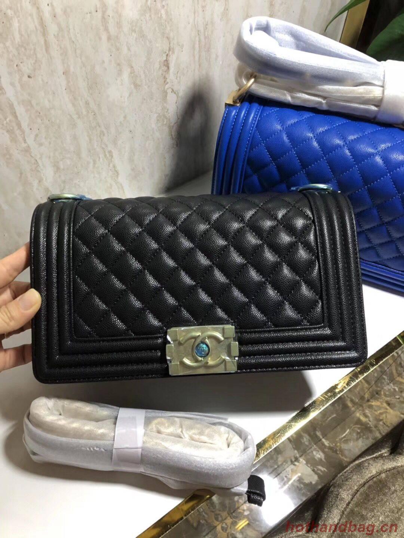 Chanel Boy Flap Original Caviar Leather Shoulder Black Bag A67086