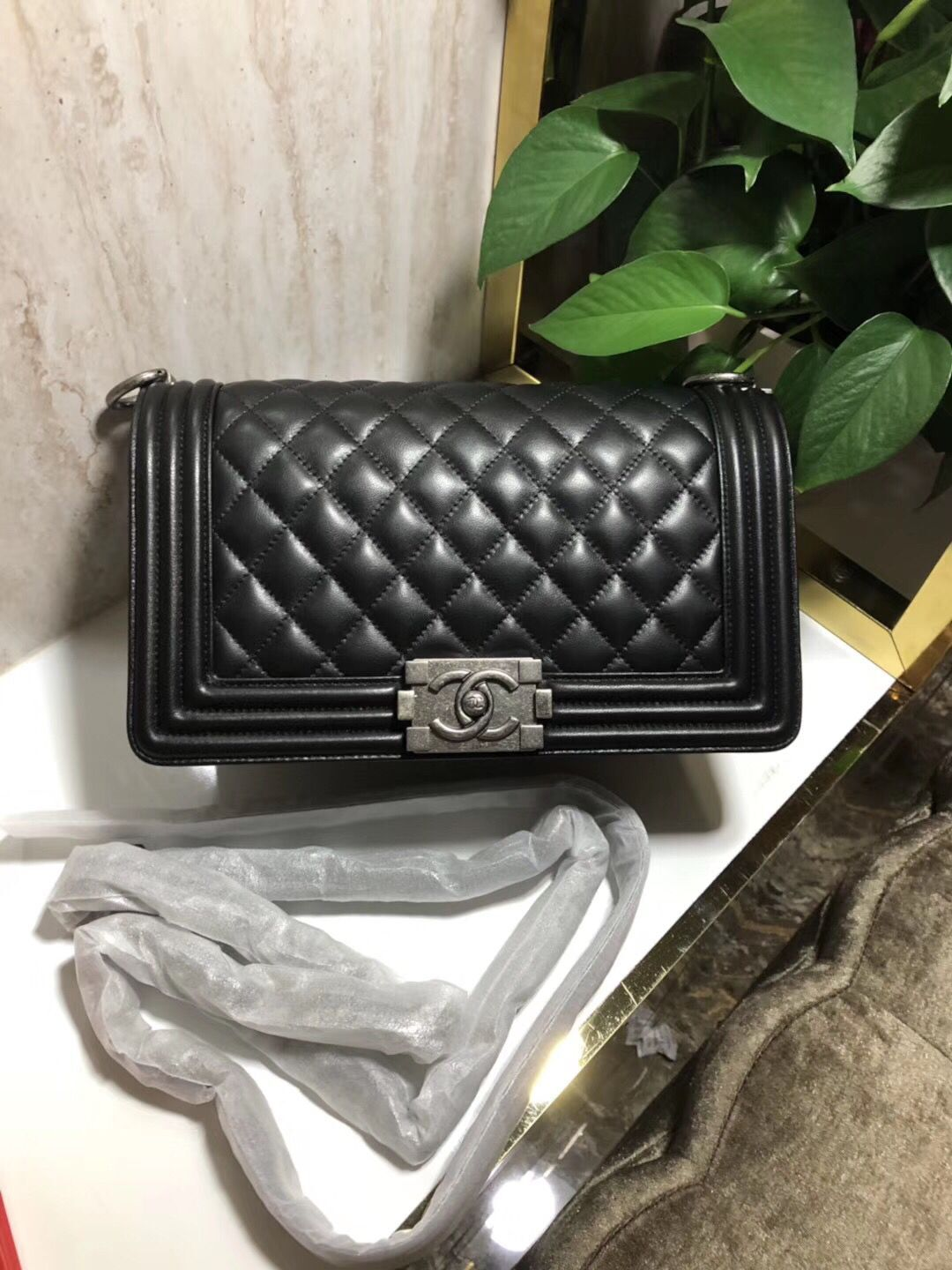 Chanel Boy Flap Original Sheepskin Leather Shoulder Black Bag A67086 Silver