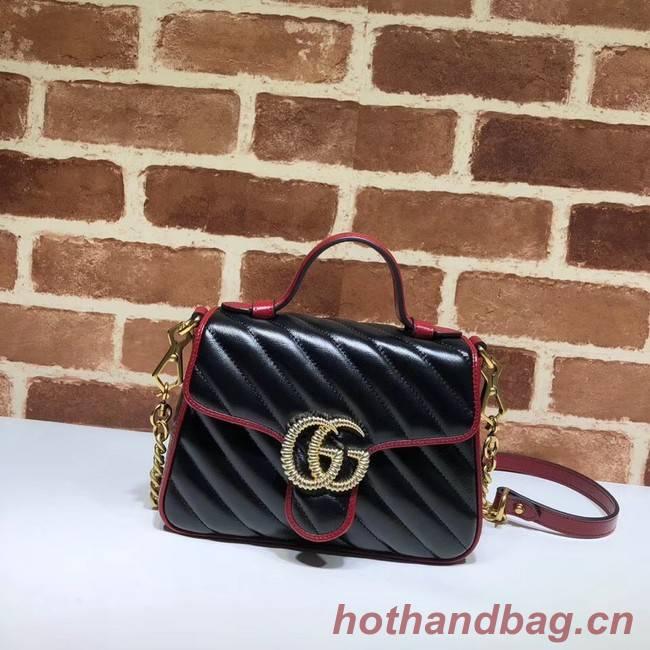 Gucci GG Marmont Mini Top Handle Bag 583571 Black