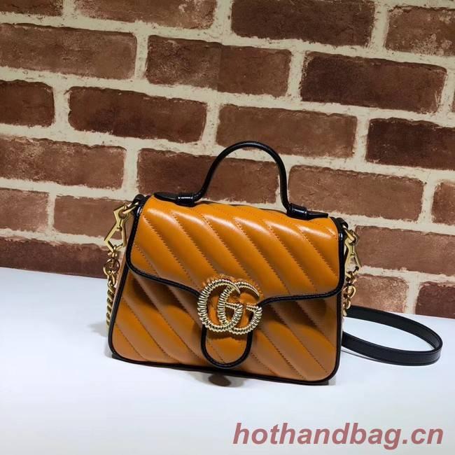 Gucci GG Marmont Mini Top Handle Bag 583571 Cognac