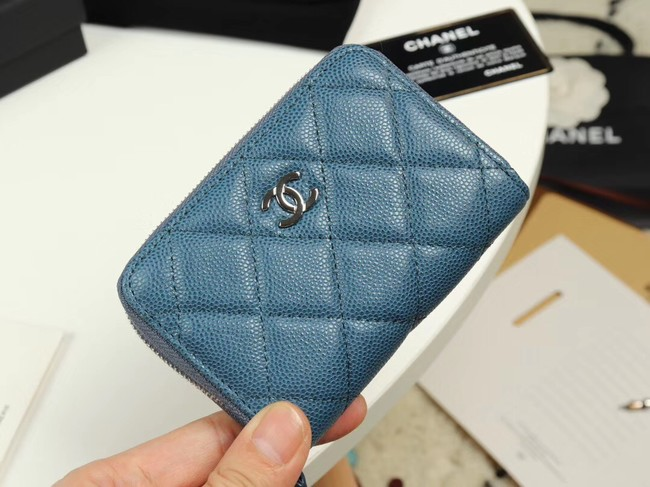 Chanel classic card holder Grained Calfskin & silver-Tone Metal A69271 Blue