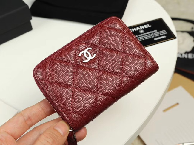 Chanel classic card holder Grained Calfskin & silver-Tone Metal A69271 Burgundy