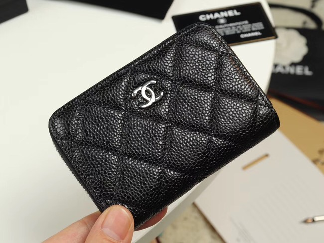 Chanel classic card holder Grained Calfskin & silver-Tone Metal A69271 black