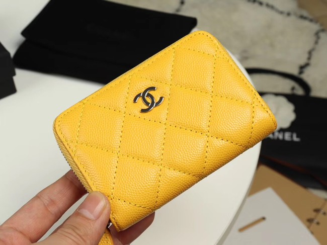 Chanel classic card holder Grained Calfskin & silver-Tone Metal A69271 yellow