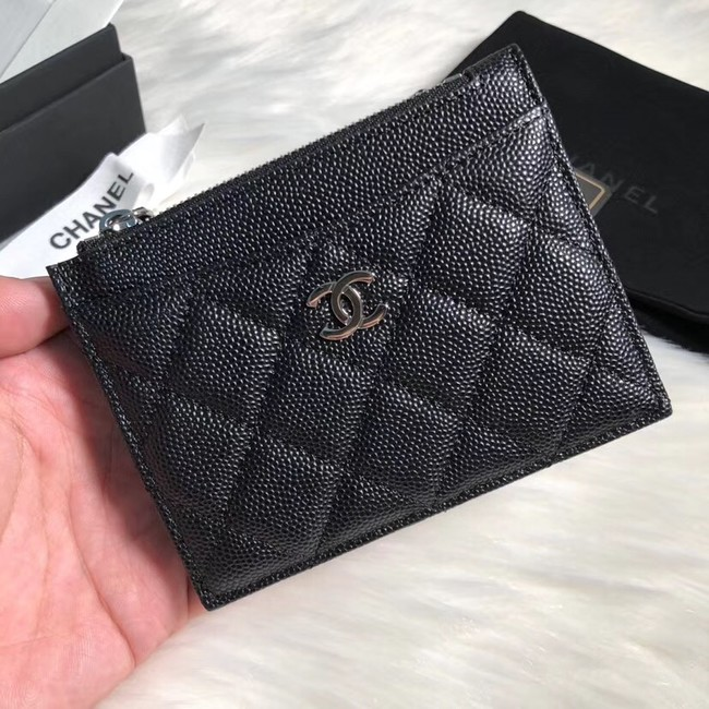 Chanel classic card holder Grained Calfskin & silver-Tone Metal A84105 black