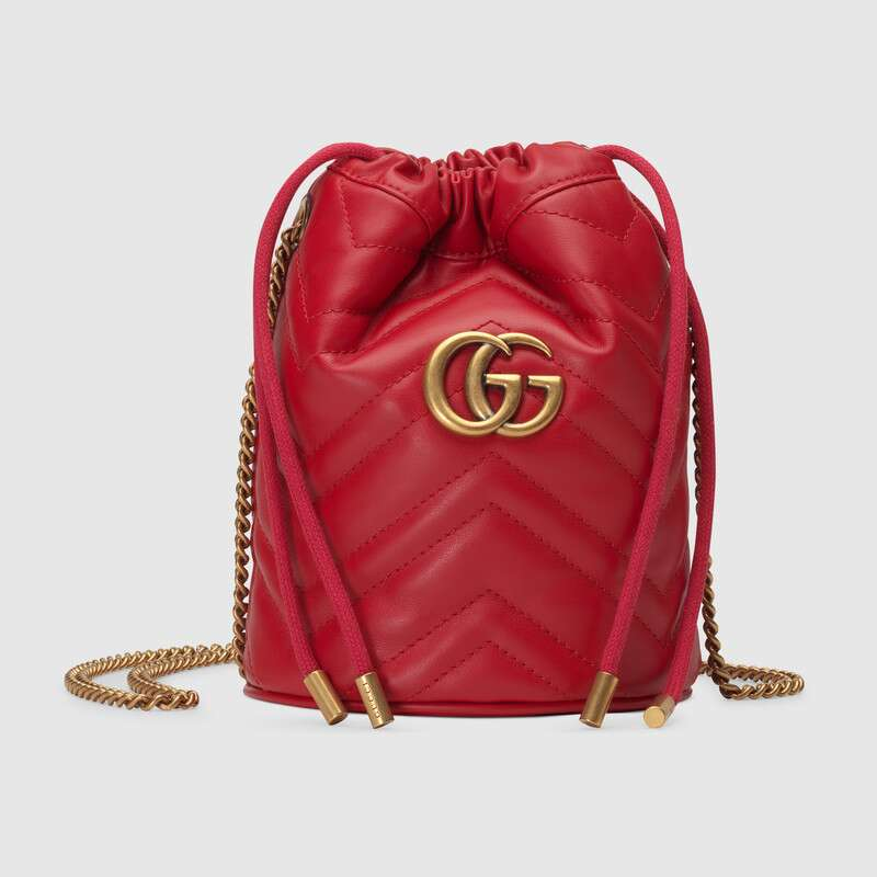 Gucci GG Marmont mini bucket bag 575163 Hibiscus red