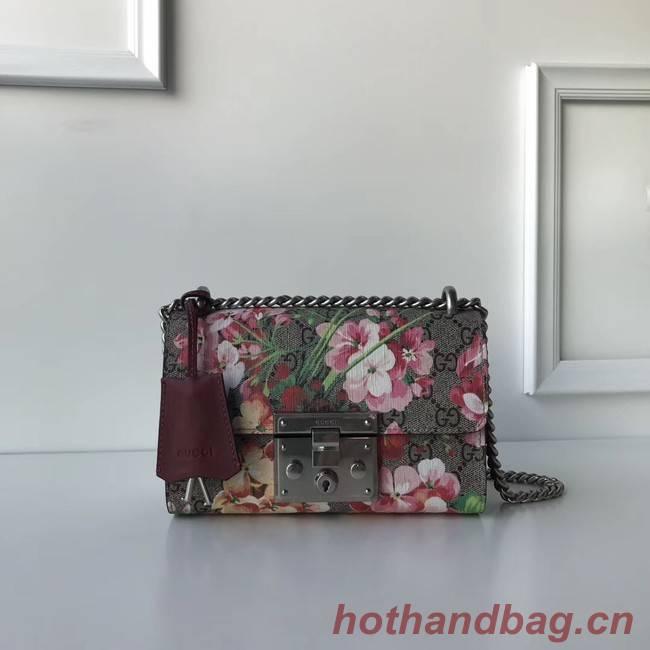 Gucci Padlock GG Supreme Shoulder Bag 409487 Burgundy Blooms