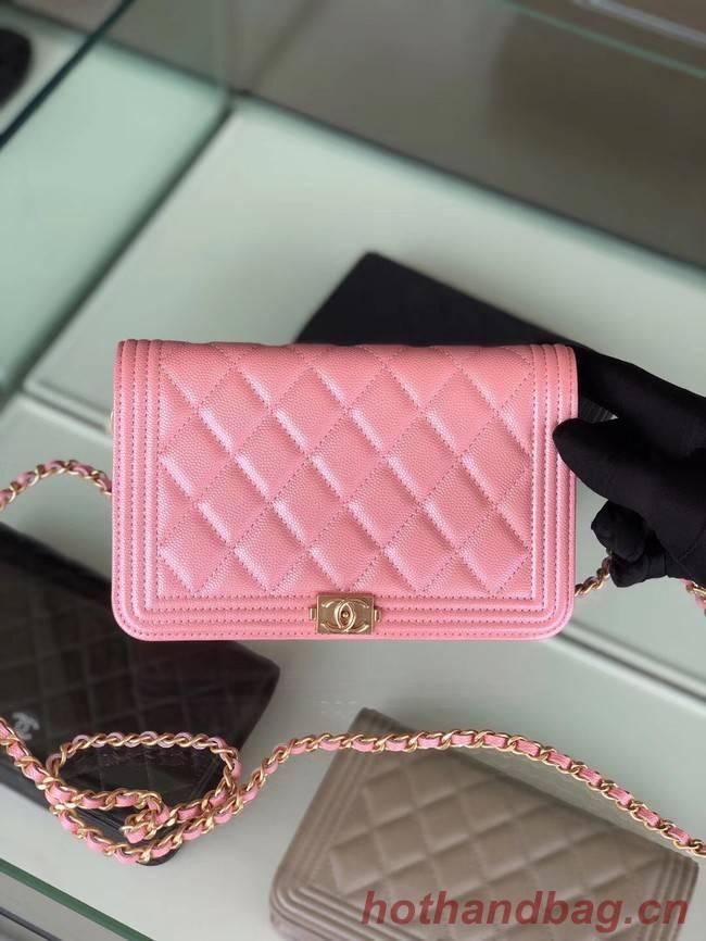 BOY CHANEL Original Wallet on Chain & Gold-Tone Metal B80287 Pink