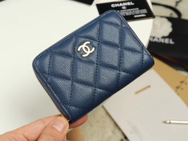 Chanel classic card holder Grained Calfskin & Gold-Tone Metal A69271 dark Blue