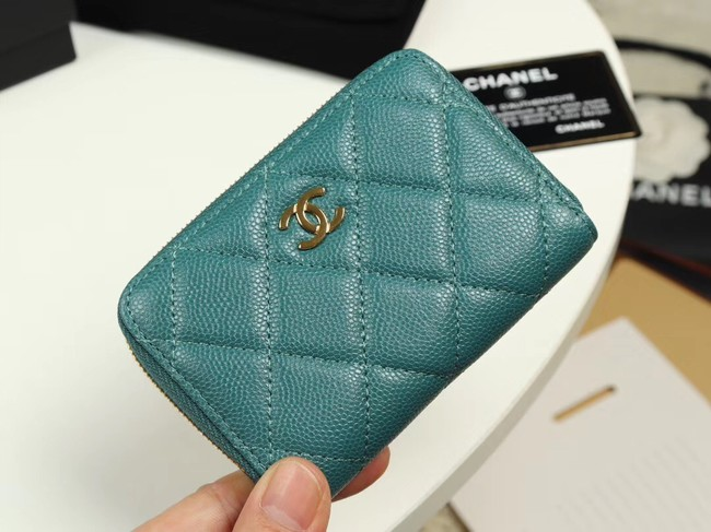 Chanel classic card holder Grained Calfskin & Gold-Tone Metal A69271 green