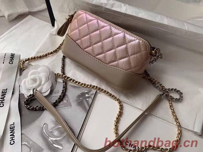 Chanel mini Shoulder Bag Leather B93825 Powder gold