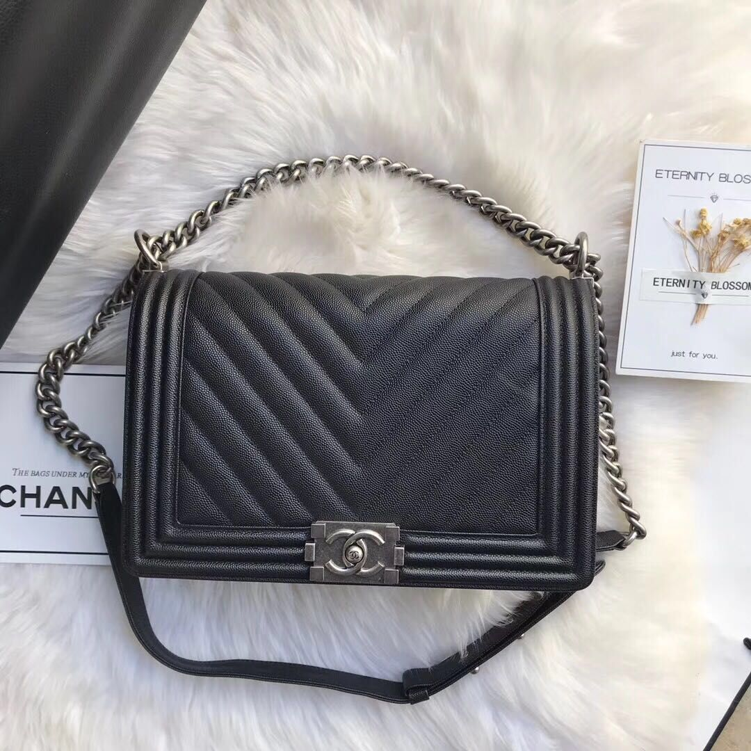 Chanel Leboy Original Caviar leather Shoulder Bag Black A67087 Silver