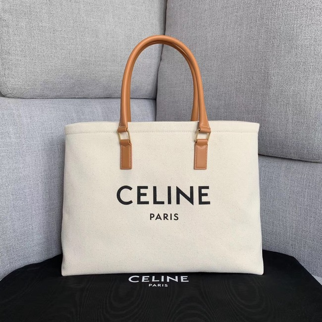 Celine VERTICAL CABAS CELINE IN CANVAS WITH CELINE PRINT AND CALFSKIN 190062