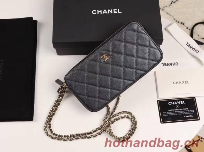 Chanel Calfskin & Gold-Tone Metal A82527 black