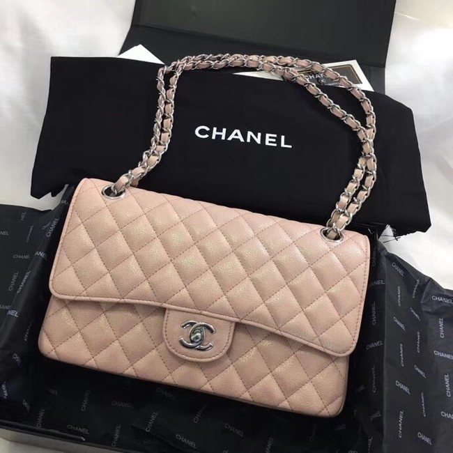 Chanel Calfskin & Silver-Tone Metal A01112 nude