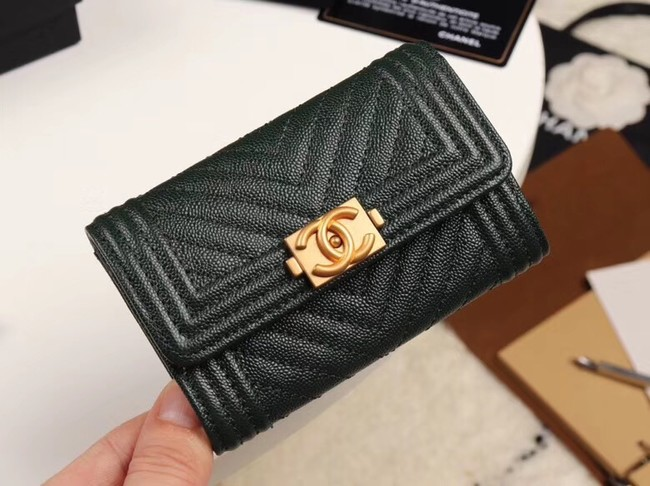 Chanel Calfskin Leather Card packet & Gold-Tone Metal A80603 black