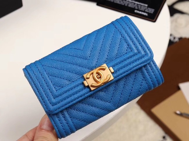 Chanel Calfskin Leather Card packet & Gold-Tone Metal A80603 blue