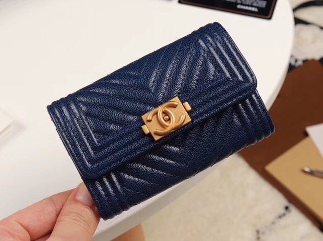 Chanel Calfskin Leather Card packet & Gold-Tone Metal A80603 dark blue