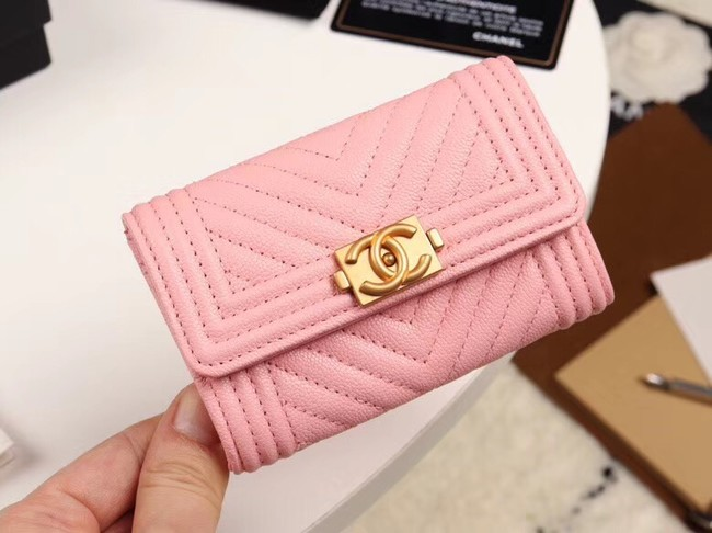 Chanel Calfskin Leather Card packet & Gold-Tone Metal A80603 pink