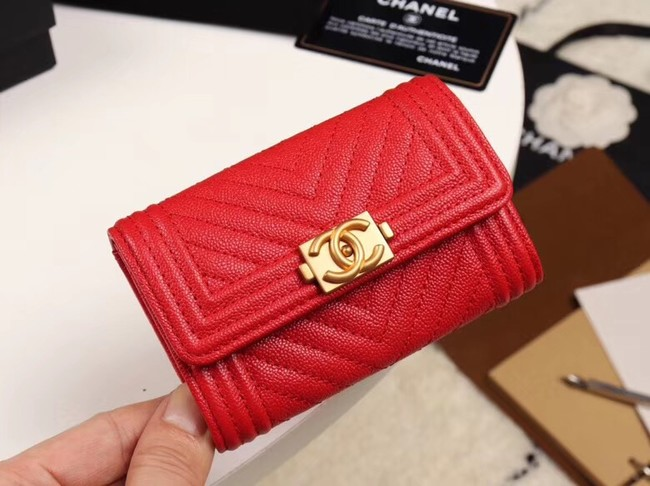 Chanel Calfskin Leather Card packet & Gold-Tone Metal A80603 red