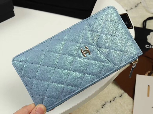 Chanel Calfskin Leather Card packet & Gold-Tone Metal A81598 light blue