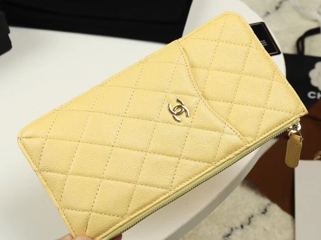 Chanel Calfskin Leather Card packet & Gold-Tone Metal A81598 yellow