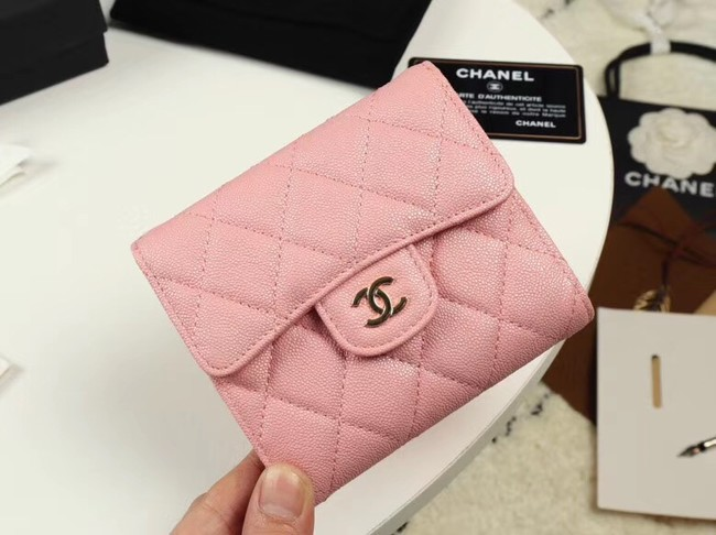 Chanel Calfskin Leather Card packet & Gold-Tone Metal A82288 pink