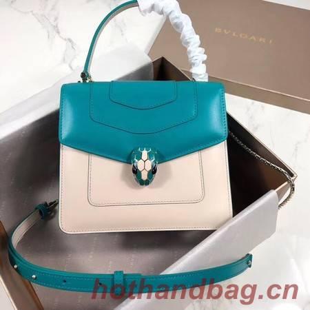 Bvlgari Serpenti Forever leather small crossbody bag 288687 blue&white