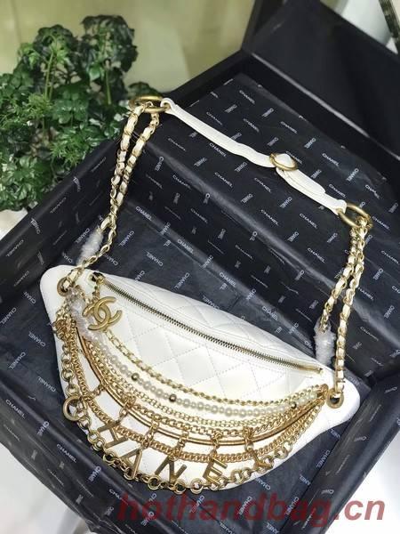Chanel Original Leather Pearl Belt Bag C2039 white