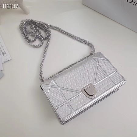 Dior DIORAMA leather Chain bag S0328 silver
