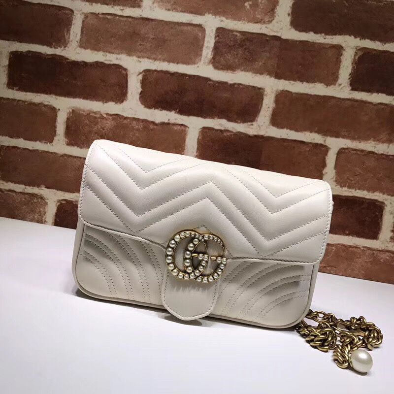 Gucci Pearl GG Marmont Small Matelasse Original Leather Shoulder Bag 443497 White