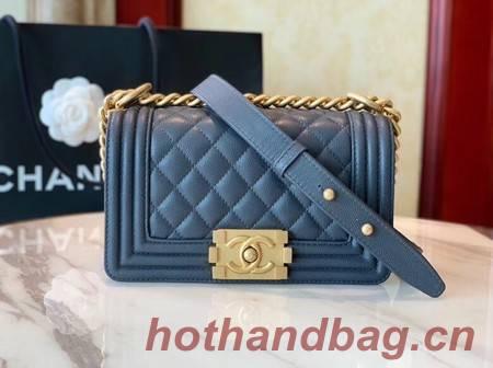 Boy Chanel Flap Shoulder Bag Leather A67085 blue