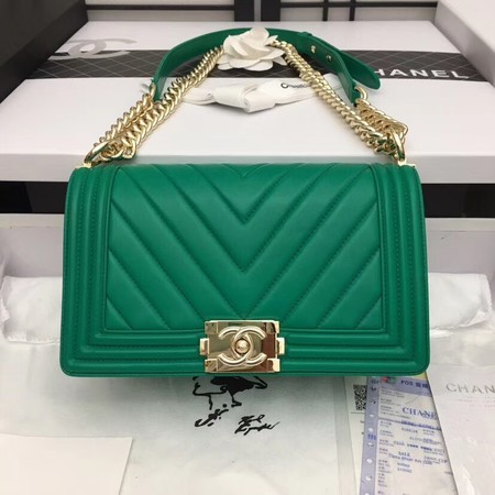 Chanel Boy Flap Shoulder Bag Original Sheepskin Leather A67086 green