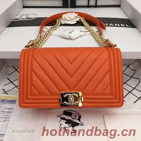 Chanel Boy Flap Shoulder Bag Original Sheepskin Leather A67086 orange