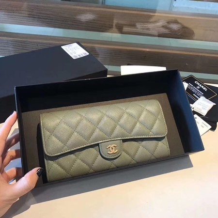 Chanel long flap wallet A80759 green