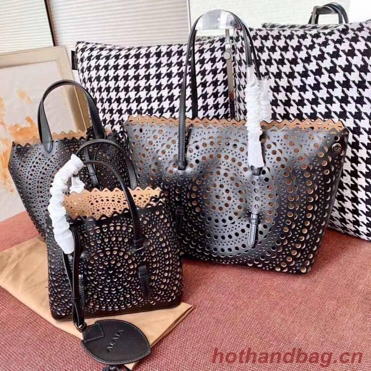 Alaia Openwork Original Leather Tote Bag A3658 Black