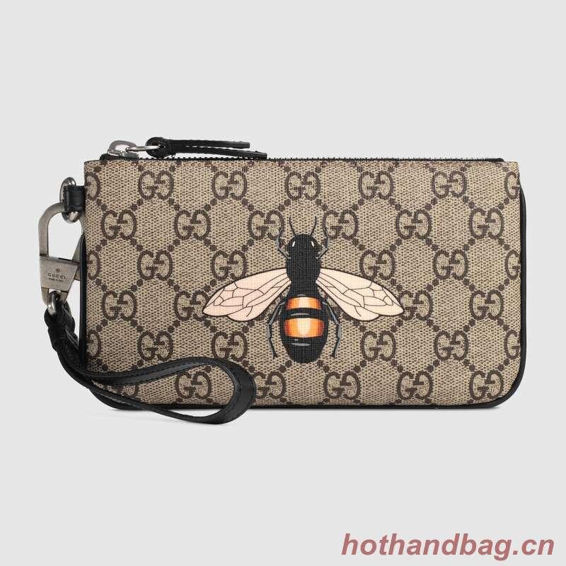 Gucci Bee print GG Supreme pouch 522866
